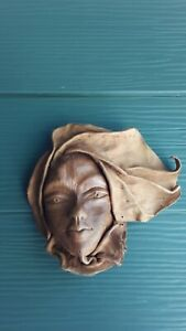 Africa Tribal Leather Face Hand Sculptured Wall Art Decorative Mask #6
