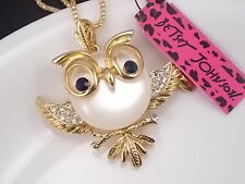 Betsey Johnson Cute inlay Crystal Opal Owl Pendant Necklace # A