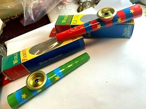 Vtg Schylling The World Famous Kazoo Metal In Box Lot Red Blue Green Yellow star