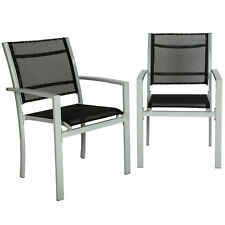 Lot de 2 chaises de jardin camping terrasse balcon salon de jardin siège gris