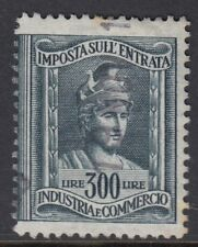 ITALIAN REVENUES : 1947 Sales ax 300L slate-blue Wheel wmk BFT 117 fiscal cancel
