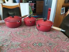 Le Creuset Cast Iron 3 Piece Sauce Pan Set - Cerise