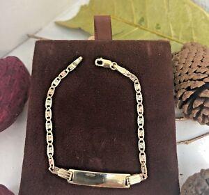 """14k Gold Tri-Color Baby ID Bracelet 6"""", Pulsera Para Bebe De Oro, Valentino Link"""