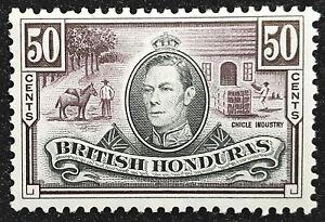 British Honduras Stamp 1938-47 50c King George VI Scott # 123 SG158 MINT OG LH-H