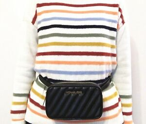 NWT Michael Kors Rose Vegan Faux Leather Belt Bag Quilted Black