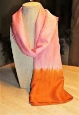 Eileen Fisher oblong scarf likely silk; copper, pink tones; slight crinkle 72x27