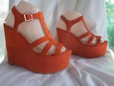 "Bright orange Sz 8 AU non leather chunky wedge 3"" heels, VGC, no gouges+light"