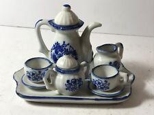 MINIATURE CHINA BLUE & WHITE FLORAL PATTERN DOLL-HOUSE TEA SET & TRAY