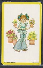 #920.338 Blank Back Swap Card -MINT- Sarah Kay, Girl in jeans with pot plants