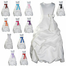 New Flower Girl Party Bridesmaid Pageant Dress 1-13Year Ivory+Sash in 14 Colours