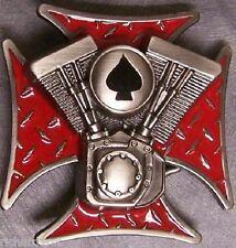 Metal Belt Buckle Motorcycle Engine Maltese Cross NEW