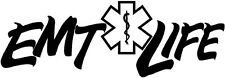 EMT LIFE decal sticker medical paramedic fire fighter star ambulance driver car