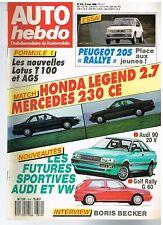 A18- Auto Hebdo N°614 Match Honda Legend 2.7 Mercedes 230 CE,Boris Becker