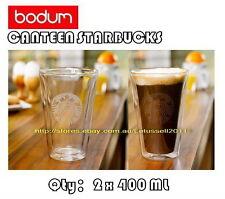 NEW BODUM STARBUCKS LOGO DOUBLE WALL CLEAR COFFEE TEA GLASSES CUPS x2 14OZ/400ML