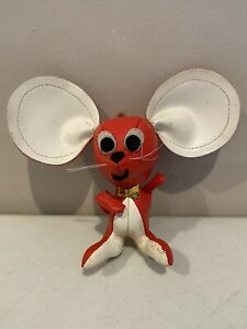 Dakin Mouse Red Leather 1960's Toy