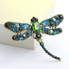 Vintage Retro Crystal Dragonfly Insects Brooch Pin Costumes Bouquet Jewelry Gift