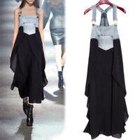 Womens Casual Denim Suspender Skirt Overall Straps Summer Beach Chiffon Dress