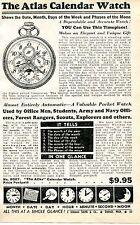1940 small Print Ad of The Atlas Calendar Pocket Watch