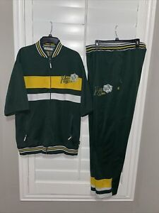 VTG Roca Wear 2 PC Track Sweatsuit Short sleeve jacket & pants Green Men's L/XL