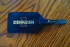 ALL GENUINE LEATHER LUGGAGE TAG ADVERTISING Oshkosh Truck collectible souvenir