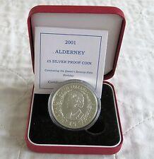 ALDERNEY 2001 QEII 75th Compleanno Argento Proof £ 5 CORONA-boxed/COA