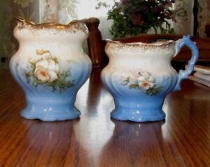 Beautiful Antique 1800s Victorian Blue & Flower Chamber Set Toothbrush & Mug
