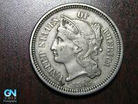 1865 3 Cent Nickel Piece    BETTER GRADE!  NICE TYPE COIN!  #B6613