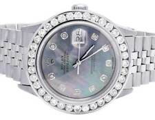 Mens Rolex Datejust 36MM Quickset 16014 Jubilee Blue MOP Dial Diamond Watch 5 Ct