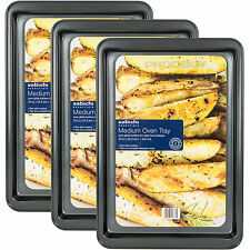 Set of 3 x Medium Non-Stick Carbon Steel Oven Trays Sheets Tins Roasting Baking