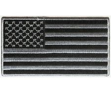"""BLACK and GRAY American Flag 4"""" x 2.2"""" iron on patch (4953) Biker Vest (C3)"""