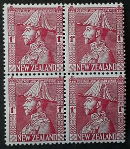 VERY RARE c.1926- New Zealand block of 4 x 1d KGV stamps COLOUR TRIAL MUH