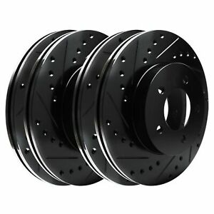 Fit 2011-2012 Ford Explorer, Flex Front Rear Sport Black Drill Slot Brake Rotors