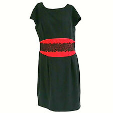 Danny & Nicole Womens Dress 14 Black Red Lace Accent Cap Sleeve Pleated Sheath