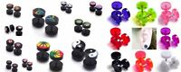 Pair Fake Ear Plug Stud Earrings Cheater Stretch Tunnels Gauge Acrylic Barbell