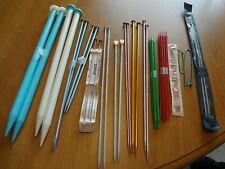 Huge Lot of 40 Knitting Needles - Large Small Various Sizes - Metal - Plastic