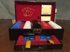 Vintage Playing Card Case W/ Poker Chips & Dice Cup