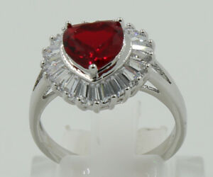 Delicate Jewelry Natural 2.29ct Ruby 14k Solid White Gold Rings Size 7.5#