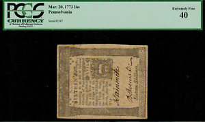 Colonial Currency - Pennsylvania March 20, 1773 16s PCGS 40