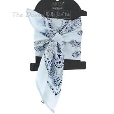 APT. 9 PAISLEY Print GREY & BLUE SCARF Neckerchief HANDBAG TIE Hair Accessory