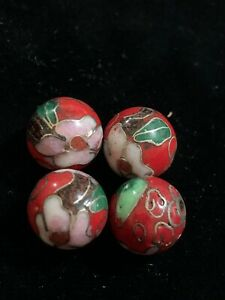 4 Vintage Red w Pink Flowers Leaves Cloisonne Chinese Enamel Round Beads 10mm