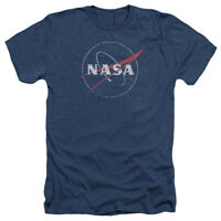 NASA DISTRESSED LOGO Licensed Adult Heather T-Shirt All Sizes