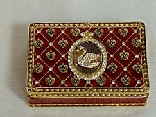 Faberge Swan Coronation Box Red Enamel Austrian Crystals Trinket Box Faberge