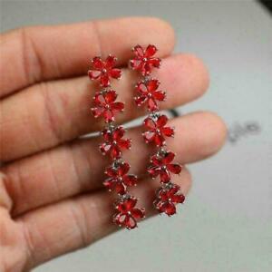 2.50Ct Pear Cut Red Ruby Diamond Drop & Dangle Earrings 14K White Gold Finish
