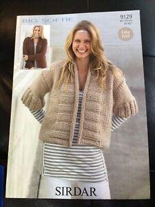 "Sirdar Big Softie Ladies Edge To Edge Jacket Knitting Pattern 9129 Sizes 32-42"""