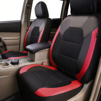 Universal 2 Front Car Seat Covers Black Red Leather Mesh Breathable for SUV VAN