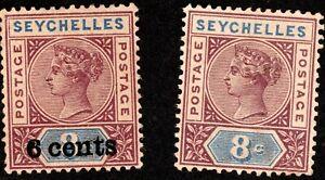 SEYCHELLES MNH QV 1890 8C & 1901 6C.ON 8C STAMPS PURPLE BROWN & BLUE