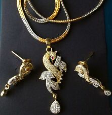 Golden Silver Peacock Design Pendant With Chain Earrings Fashion Jewelry Set