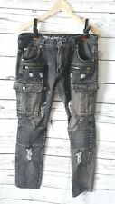 Mens Trullnation Jeans Size 32/30 Black Distressed (D28)