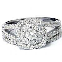 SI1 1.10Ct Lab Grown Diamond Cushion Halo Engagement Wedding Ring Set White Gold