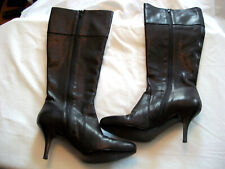 "J. CREW  BROWN LEATHER BOOTS 3 1/4"" HEEL MADE IN ITALY SIZE  9"
